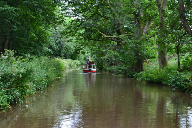 Narrowboat on Monmouthshire and Brecon Canal east of Talybont-on-Usk