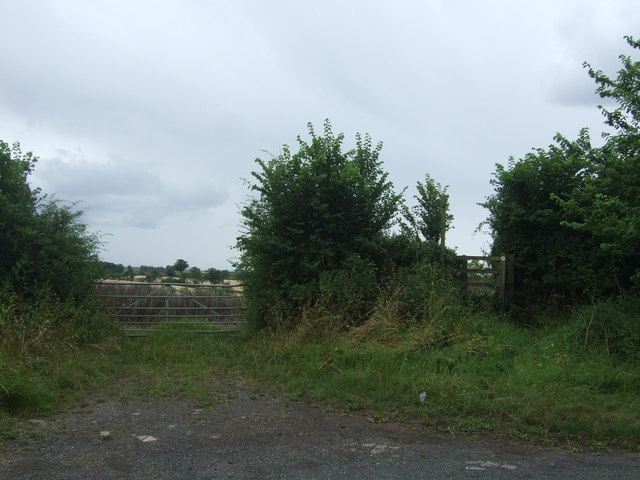 Field entrance and footpath off School Road