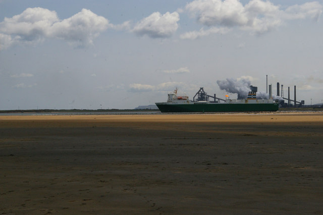 Ship leaving the Tees, from North Gare