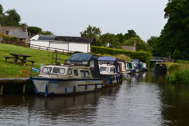 Moored boats on the Monmouthshire and Brecon Canal near bridge No. 88