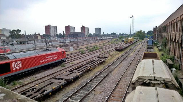 South view from bridge across Doncaster rail yard