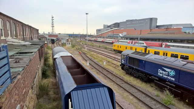 North view from bridge across Doncaster rail yard