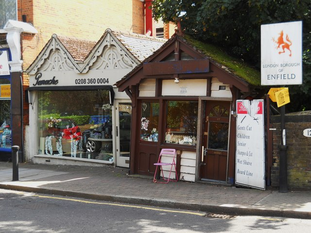 Florist and barber's shop on Station Road, Winchmore Hill