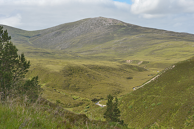 Looking into the valley of the Allt Mòr