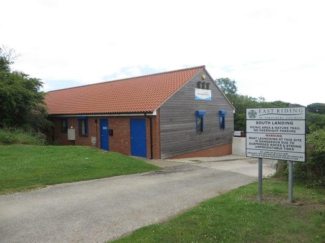 Cafe and car park entrance, South Landing, Flamborough