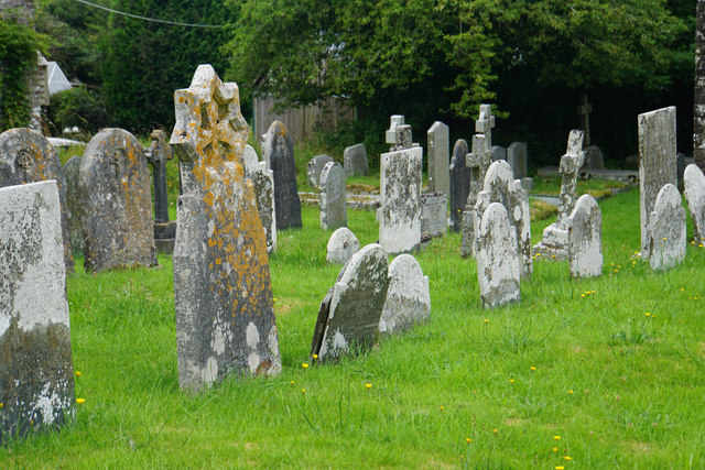 Part of the churchyard of St Martin's, Martinhoe