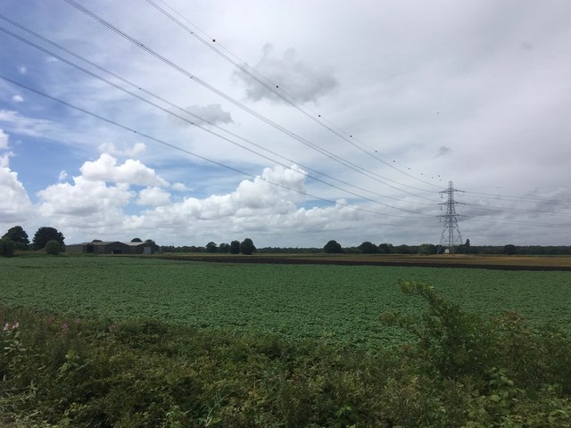 Power lines and pylon and Bartonmoss Farm