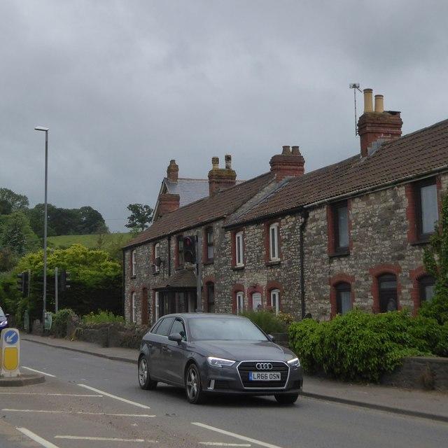 Terrace of houses, A39, Farrington Gurney
