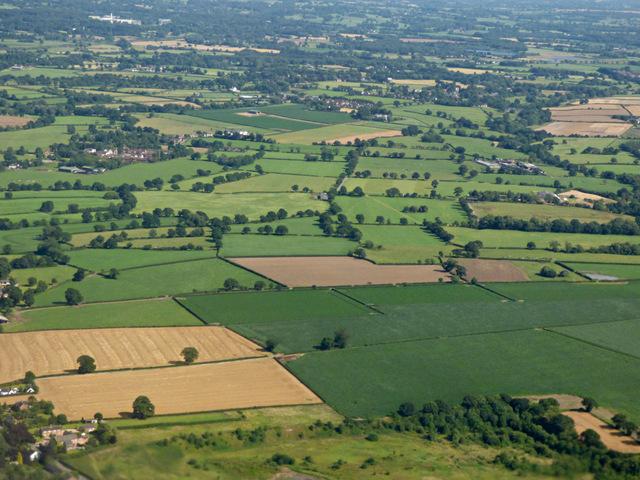 Farmland near Mobberley from the air