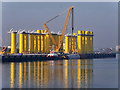 J3677 : Belfast Harbour D1 Quay, Wind Turbine Bases by David Dixon