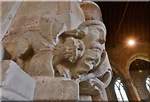 SO7137 : Ledbury, St. Michael and All Angels Church: Winged lion fighting a manticore 2 by Michael Garlick