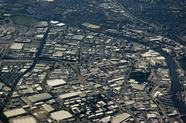 Village and Trafford Park from the air