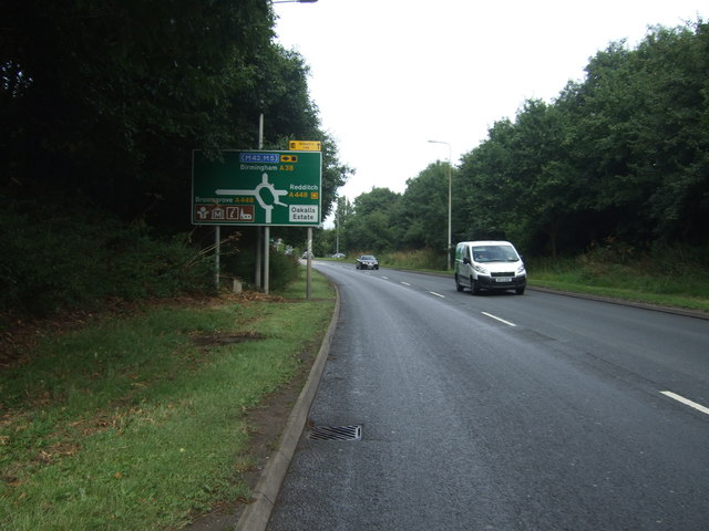 A38 approaching roundabout, Bromsgrove