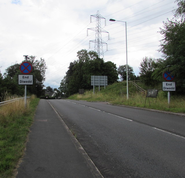 End of Clearway signs alongside the B4246, Govilon