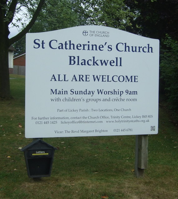 Sign outside St Catherine's Church, Blackwell