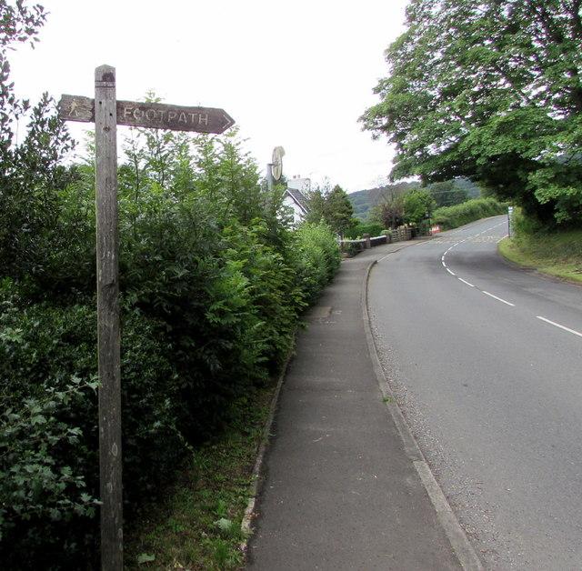 Public footpath signpost near Govilon