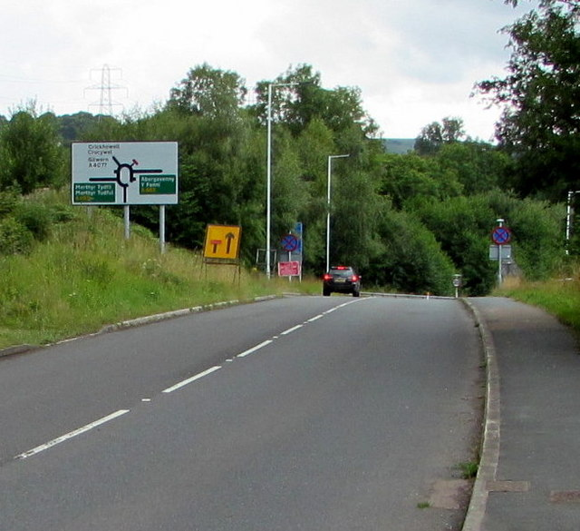 Directions sign alongside the B4246 near Govilon