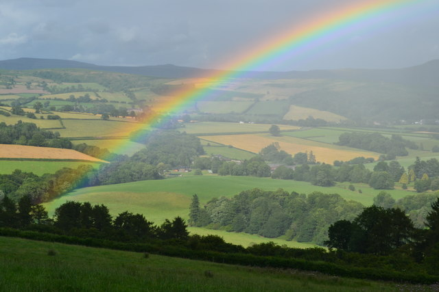 Rainbow over field near Upper Wenallt