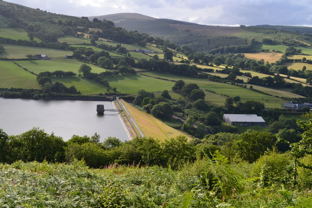 Looking down on Talybont Dam
