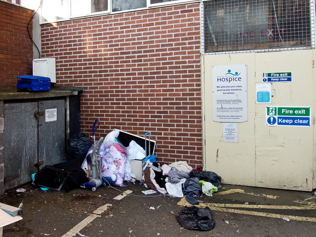 Donations dumped outside a charity shop over the weekend