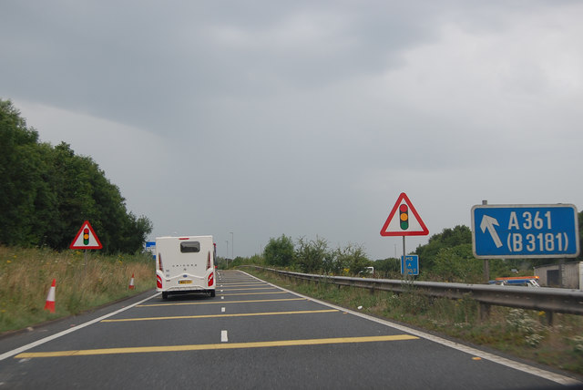 Exiting the M5 on Junction 27