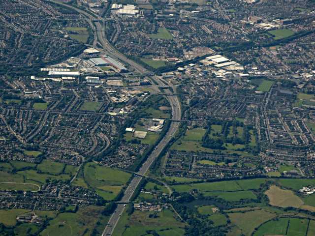 Woodhouse Green and Failsworth from the air