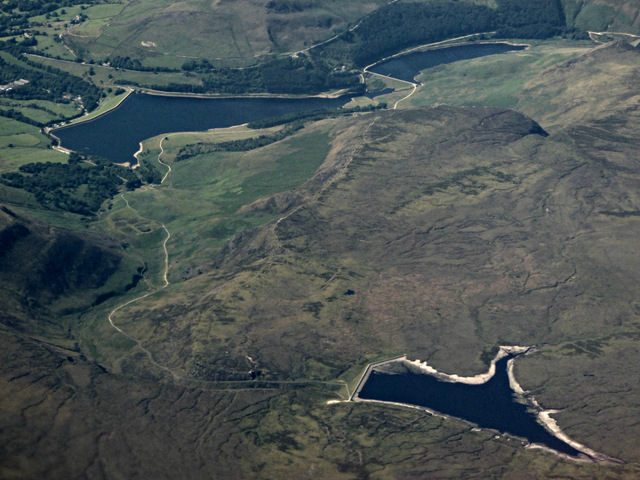 Three reservoirs on Saddleworth Moor from the air