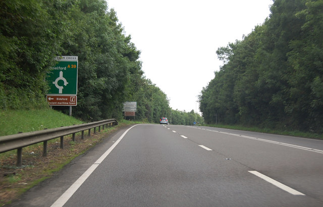 A39 towards Abbotsham Cross roundabout