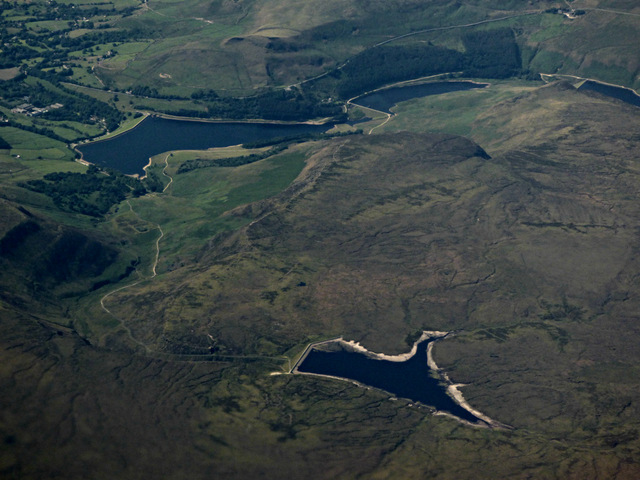Four reservoirs on Saddleworth Moor from the air