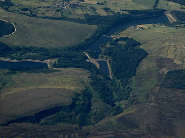 Ramsden Clough reservoirs from the air