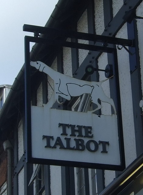 Sign for the Talbot public house, Worcester