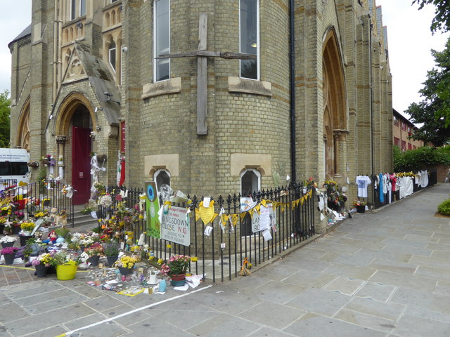 Flowers and tributes outside Notting Hill Methodist Church