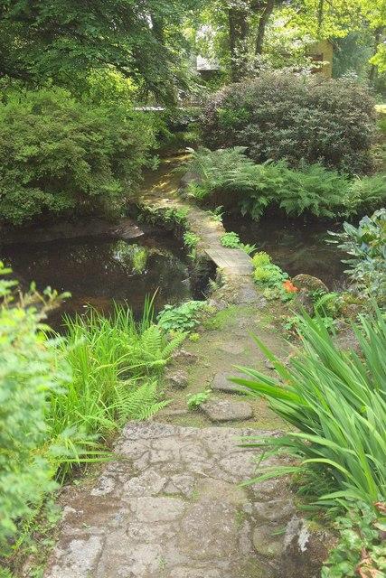 Footbridge, water gardens, Gidleigh Park