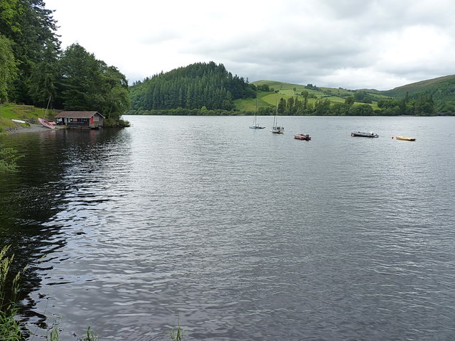 Small bay and a boathouse on Lake Vyrnwy