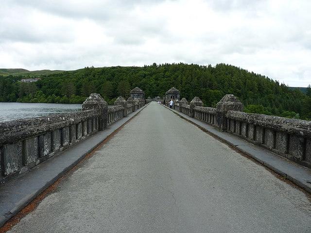 Along the dam wall