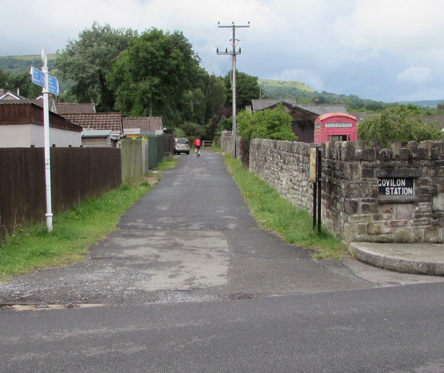 Cycle route and footpath past the former Govilon Railway Station