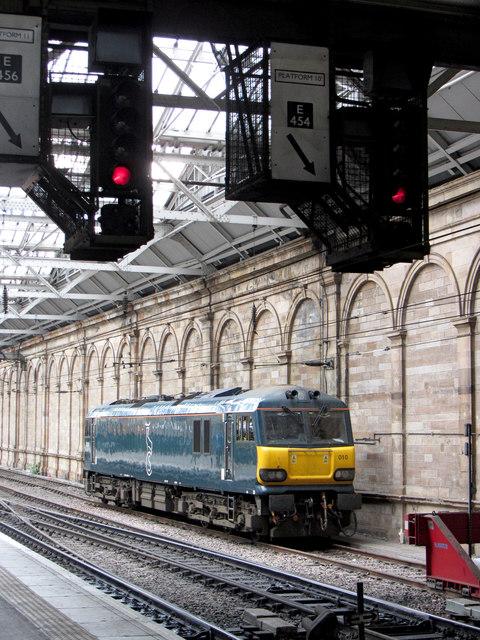 Class 92 locomotive at Edinburgh Waverley
