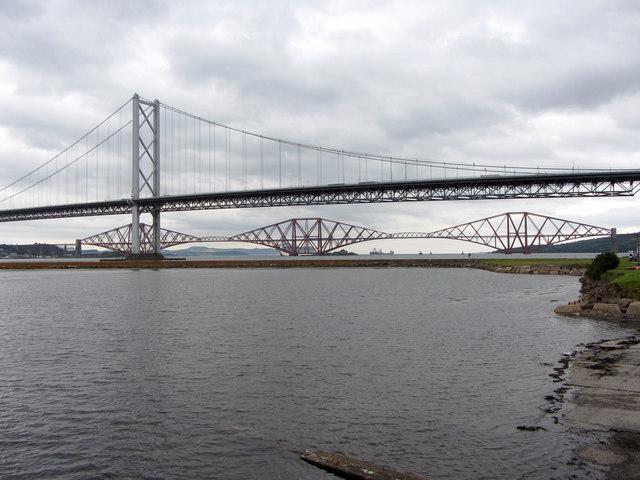 The Forth Bridges seen from Port Edgar marina