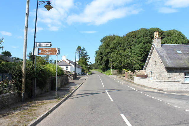 The A710 to Dumfries at Kirkbean