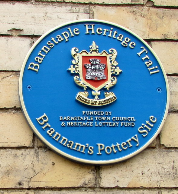 Brannam's Pottery Site blue plaque, Barnstaple