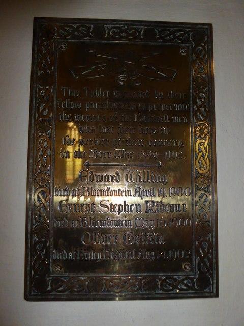 St Andrew, Backwell: memorial (5)
