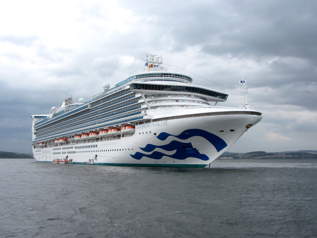 Caribbean Princess moored in the Firth of Forth