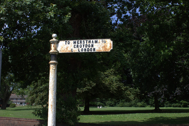Old road sign at South Merstham