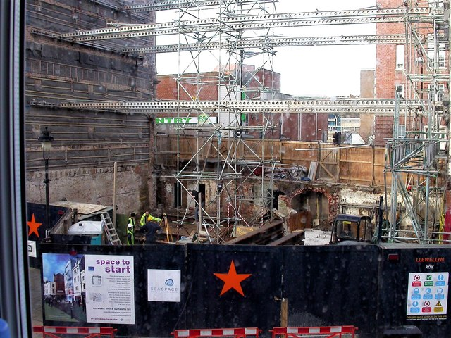 Construction work at Priory Square, Hastings