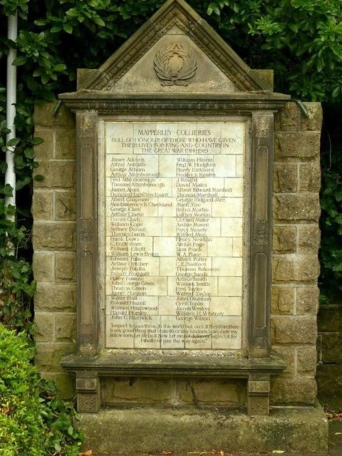 Mapperley Collieries war memorial
