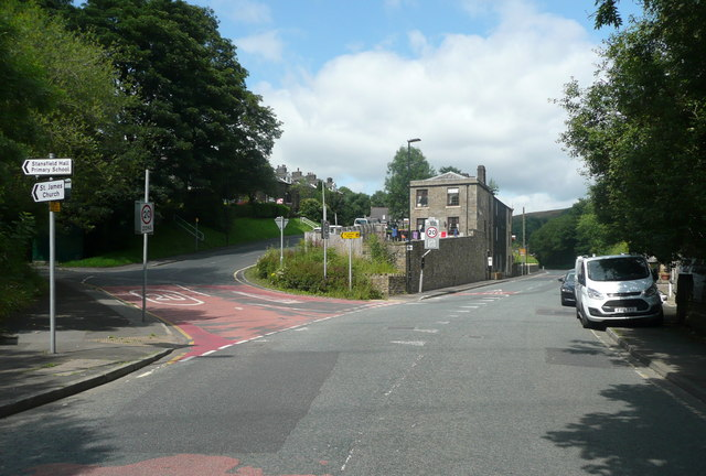 The junction of Barnes Meadows with Todmorden Road, Calderbrook