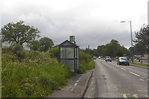 ST4636 : Bus shelter on Quarry Batch (A39) by David Smith