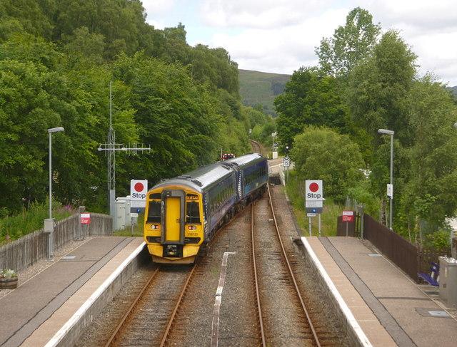 Train leaving Garve station
