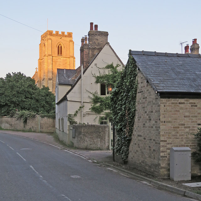 Trumpington: sunlight and shadow on a July evening