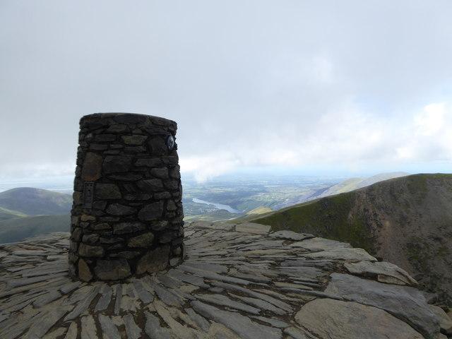 Stone pillar on the summit of Snowdon